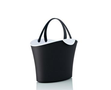Basket 6 L. Painted white & Black / 2 handles