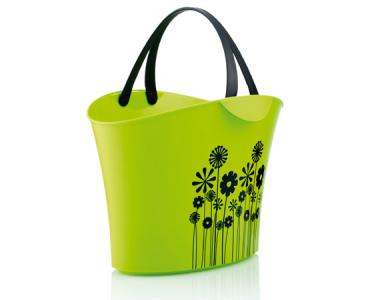 Basket 15 L. Green flowers / 2 handles