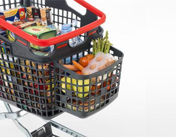 Plastic self-service shopping trolley