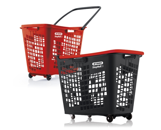Plastic Shopping basket on wheels 55 litres