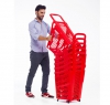 65 litres plastic stacking Shopping baskets on wheels supermarket