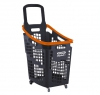 Grey and orange 65 litres plastic Shopping baskets on wheels