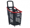 Grey and red 65 litres plastic Shopping baskets on wheels