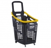 Grey and yellow 65 litres plastic Shopping baskets on wheels