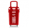 Red 65 litres plastic Shopping baskets on wheels