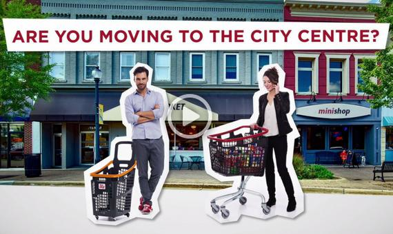 Shopping baskets and carts for urban stores